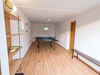 Letní sezona - suterén - stolní tenis, prostor pro uzamčení jízdních kol - pronájem roubenky Radějov