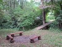 Venkovní dolní posezení - chata k pronajmutí Tvarožná Lhota - Lučina