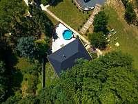 Letecký pohled - rekreační dům k pronajmutí Klobouky u Brna