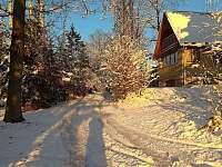 Okolí chaty v zimě - k pronajmutí Jedovnice