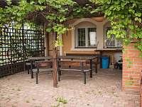 venkovní terasa s krbem - chalupa ubytování Prušánky - Nechory