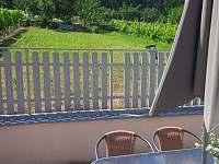 Posezení na dvorku s výhledem na do zahrady, na bazén, trampolínu a na les - Milovice