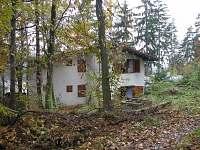 Pohled ze zadní stany, v pozadí rybník Olšovec