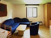 obývací pokoj, jídelní stůl, šatní skříň, sat. TV, lednice, mikrovlnka