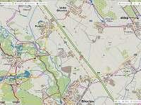 cykloturistická mapa směrem na jiho-západ - Prušánky