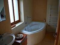 Koupelna s vanou, umyvadlem a pračkou - chalupa ubytování Ždánice