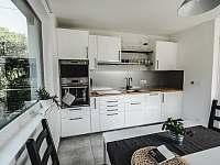 Ubytování na Lontu - kuchyně s jídelním koutem a obývací částí - apartmán k pronájmu Němčičky
