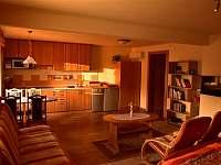 Pohled přes obývací pokoj do kuchyně