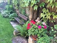 rozkvetlá zahrada a zákoutí s lavicí - Doksy u Máchova jezera