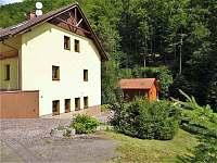 celkový pohled na srub a budovu penzionu - chata k pronájmu Žacléř - Prkenný Důl