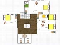 Schéma pokojů v 1. patře - Velká Úpa