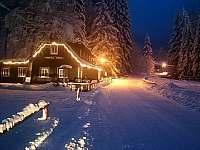 Večerní idyla v zimě - Špindlerův mlýn