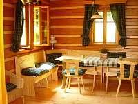 ROUBENKA čp 135: v hlavní místnosti roubenky je jídelní stůl pro 10 osob