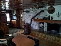 Pohled z obývacího pokoje na krb, kamna a televizi - Víchová nad Jizerou
