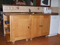Pracovní deska v kuchyni s myčkou.
