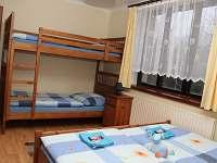 Modrý čtuřlůžkový pokoj s palandou