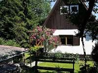 Pohled od zahradního sezení - pronájem chaty Prkenný Důl