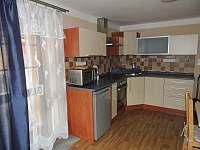 Plně vybavený kuchyňský kout a vstup z kuchyně rovnou na terasu.
