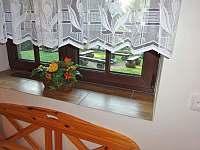 Chata Labaika - pohled na ohniště z okna jídelny