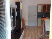 Obývací pokoj s kuchyní - pohled z terasy - apartmán ubytování Harrachov