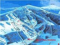 Poloha chaty v lyžařském areálu