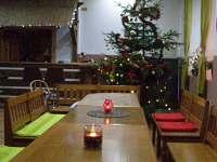 jídelní stul pohled na bar a stromeček