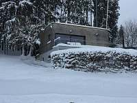 Pohled v zimě - chata ubytování Vlčice