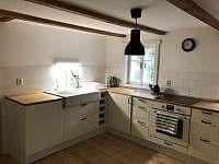 Prostorná kuchyň s ledničkou, sporákem, kávovarem a výstupem na terasu - chalupa k pronájmu Bratrouchov