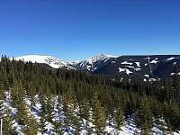 Výhled na Sněžku z lanovky Hnědý vrch - apartmán k pronájmu Pec pod Sněžkou