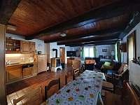 Společenská místnost s kuchyň. koutem - pronájem chalupy Dolní Rokytnice