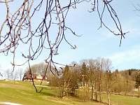 Pohled na chalupu ze sjezdovky na jaře - Strážné