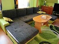 obývací pokoj s rozkládacím gaučem - apartmán k pronajmutí Lánov