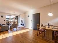 Obývací část s biokrbem a jídelním stolem - apartmán ubytování Loučná pod Klínovcem