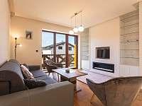 Obývací pokoj s biokrbem - apartmán k pronajmutí Loučná pod Klínovcem