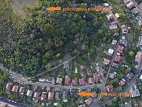 letecký pohled - DŮM POD SEDLEM - rekreační dům k pronájmu Ústí nad Labem
