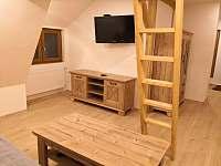 2.patro obývací část s rozkládacím gaučem + spaní v podkroví. Pohled od gauče. - chata k pronájmu Měděnec