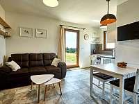 Malý apartmán - obývací prostor s kuchyní a krbovými kamny - chalupa k pronajmutí Abertamy