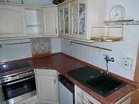 Kuchyně s myčkou, lednicí, varnou deskou a sporákem, kompletně vybavena nádobím