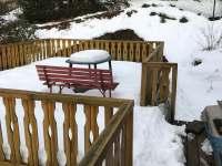 Terasa v zimě - chata ubytování Lípa