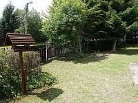zahrada - v létě úplné soukromí - chalupa k pronájmu Abertamy