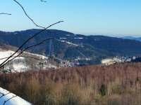 Babiččina chalupa - okolí zima - pohled na Jáchymov -