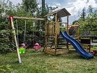 Pískoviště, bábovičky, houpačky, venkovní kuchyňka, dětské zahradní nářadí,...