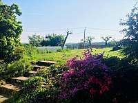 Pohled od chaty na zahradu