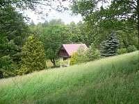 chata na samotě pohled od lesíčku
