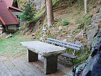 kamenný stůl u ohniště