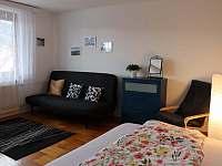 Obývací pokoj s rozkládacími pohovkami - apartmán k pronájmu Deštné v Orlických horách