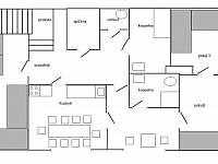 Plánek prvního poschodí - chalupa ubytování Heroltice u Štítů