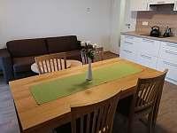 Jídelní stůl a rozkládací pohovka - apartmán ubytování Říčky v Orlických horách