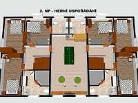 2.NP Herní uspořádání - pronájem chaty Červená Voda - Buková Hora