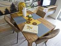 Apartmán 1+kk i 2+kk má prostorný masivní jídelní stůl. - Říčky v Orlických horách